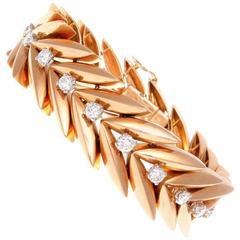 French Retro Diamond Rose Gold Bracelet