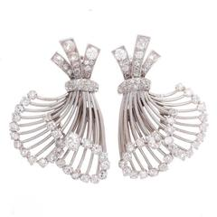 French Diamond Platinum Earrings
