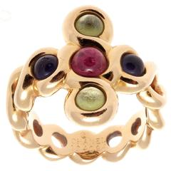 French Tourmaline Amethyst Gold Chanel Ring
