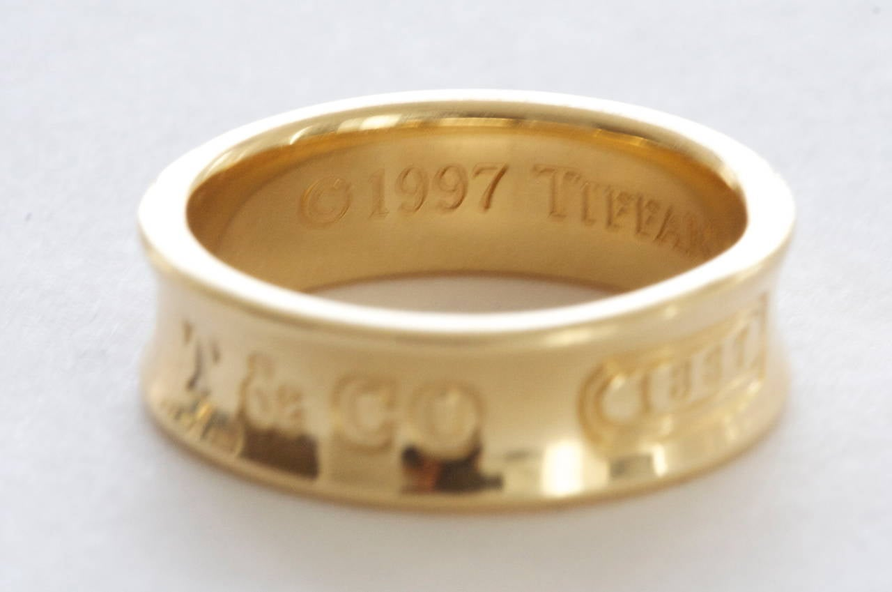 Modern Tiffany & Co. 1837 Gold Wide Band Ring For Sale