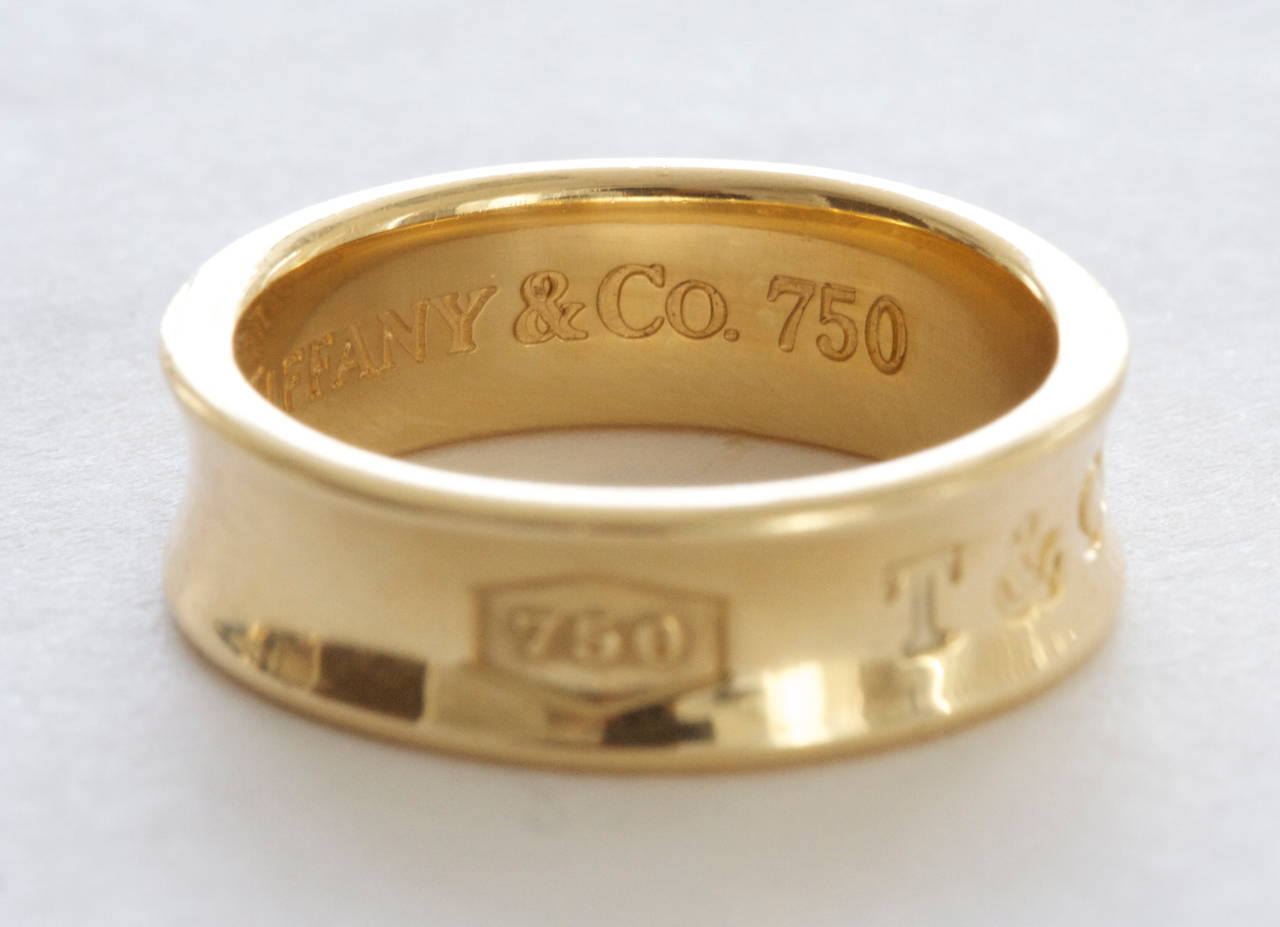 Tiffany & Co. 1837 Gold Wide Band Ring In Excellent Condition For Sale In Beverly Hills, CA