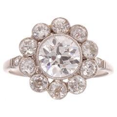 1.41 Carat Diamond Platinum Cluster Ring