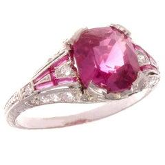 Art Deco GIA 2.52 Carat Pink Sapphire Ruby Diamond Platinum Ring