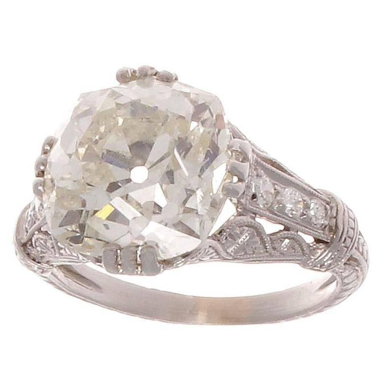 4 88 Carat Old Cushion Cut Diamond Platinum Ring For Sale at 1stdibs