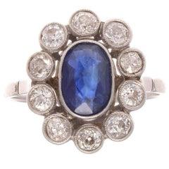 French Belle Époque Sapphire Diamond Gold Ring