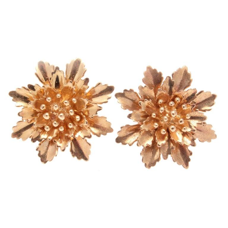 Flower Bouquet Gold Earrings