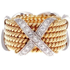 Tiffany & Co. Schlumberger Diamond Platinum Gold X Ring