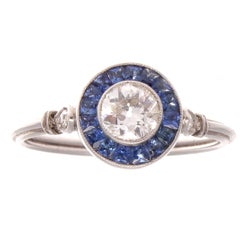 Diamond Sapphire Platinum Engagement Ring