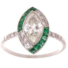 Marquise Diamond Emerald Platinum Engagement Ring
