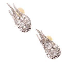 19th Century French Diamond Gold Earrings