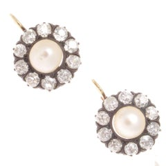 Pearl Diamond Gold Silver Earrings