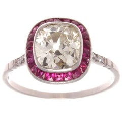 1.64 Carat Old Cushion Cut Diamond Ruby Platinum Engagement Ring