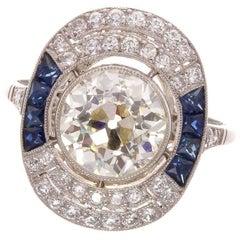 Old European 2.55 Carat Diamond Sapphire Platinum Engagement Ring
