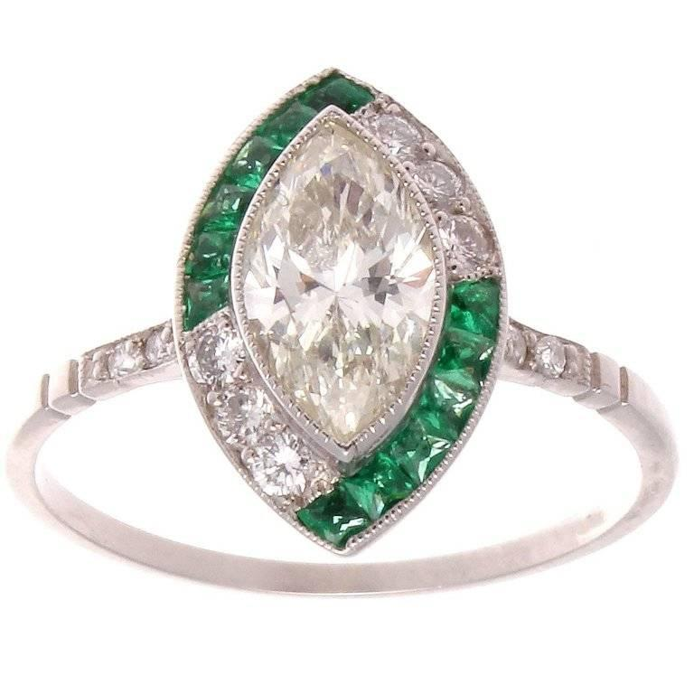 marquise emerald platinum engagement ring for sale