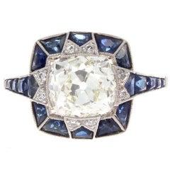 2.38 Carat Diamond Sapphire Platinum Engagement Ring