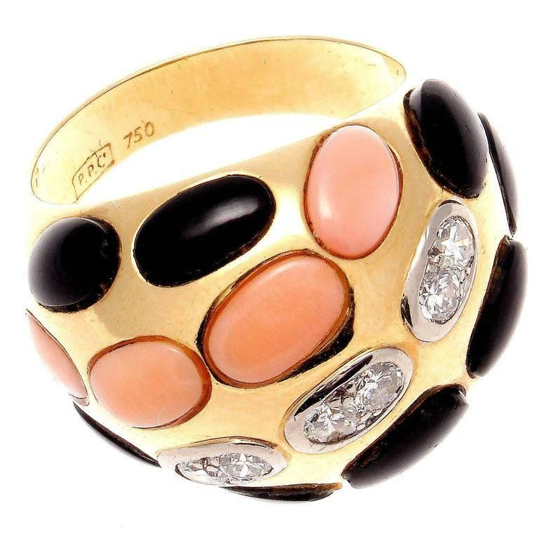 Coral Diamond Onyx Gold Dome Ring