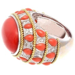 Coral Diamond Gold Cocktail Ring