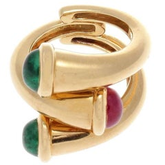 David Webb Emerald Ruby Gold Ring
