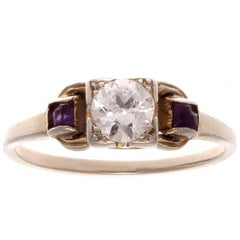Art Deco Diamond Amethyst Gold Engagement Ring