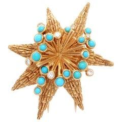 Cartier Turquoise Diamond Gold Starfish Brooch