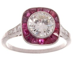 1.12 Round Brilliant Cut Diamond Ruby Platinum Ring