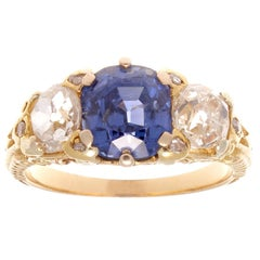 Victorian Three-Stone No Heat Ceylon Sapphire Diamond Gold Ring