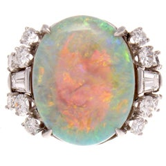 1950s Retro 10.88 Carat Opal Diamond Platinum Cocktail Ring