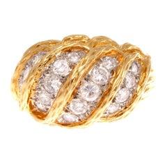 1960s Van Cleef & Arpels Diamond Gold Dome Ring