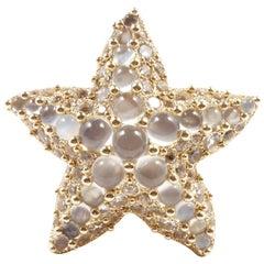 Pomellato Moonstone White Topaz Gold Starfish Ring
