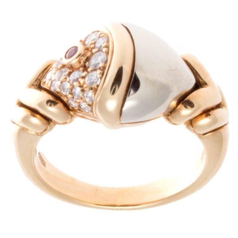 Bulgari Diamond Ruby Gold Ring