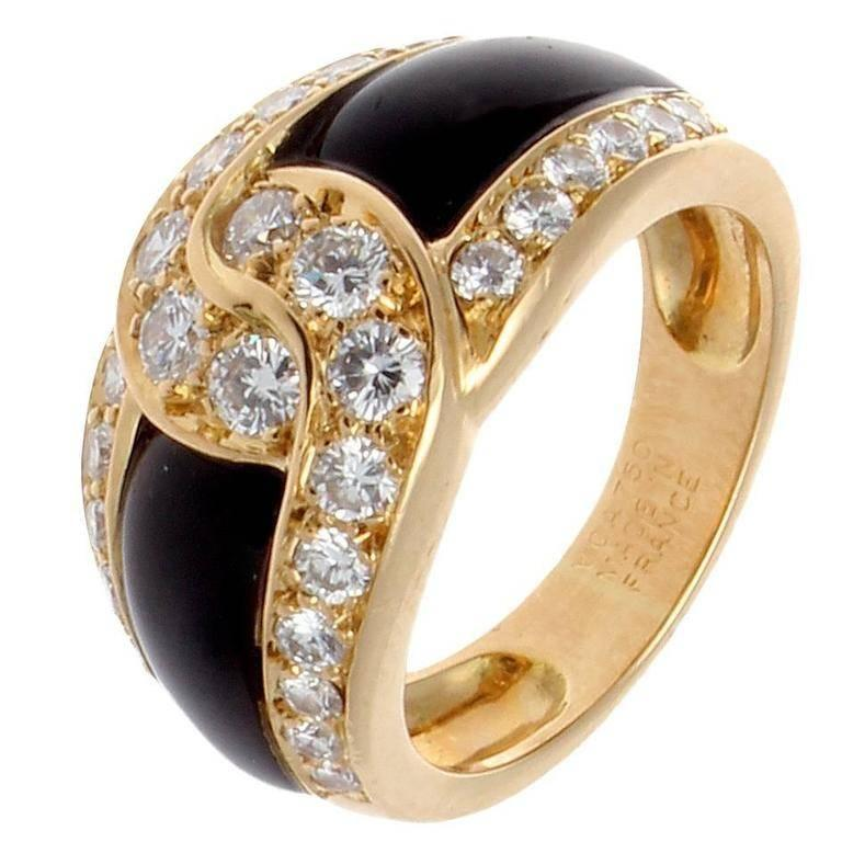 Van Cleef & Arpels Onyx Diamond Gold Ring For Sale