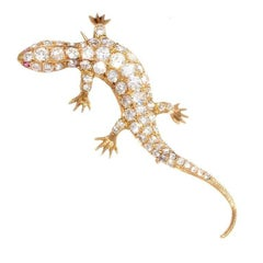 French Salamandre Diamond Ruby Gold Brooch