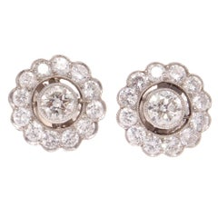Diamond Cluster Platinum Earrings
