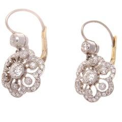 Flower Motif Diamond Gold Platinum Earrings