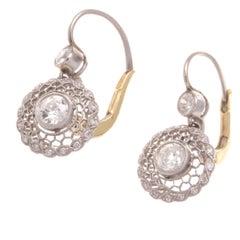 Diamond Platinum Cluster Earrings