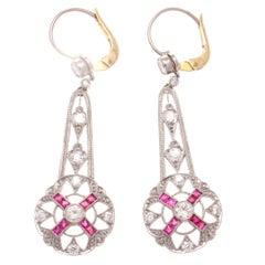 Ruby Diamond Platinum Drop Earrings