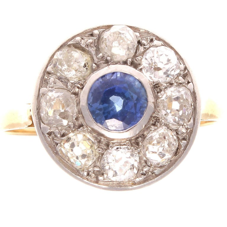 French 19th Century Sapphire Diamond Platinum Gold Cluster Ring