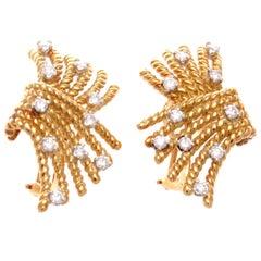 Tiffany & Co. Schlumberger Diamond Gold Earrings