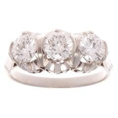 Three-Stone Diamond Platinum Ring