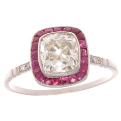 1.27 Carat Old Cushion Cut Diamond Ruby Platinum Ring