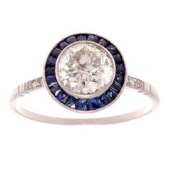 1.15 Carat Diamond Sapphire Platinum Ring