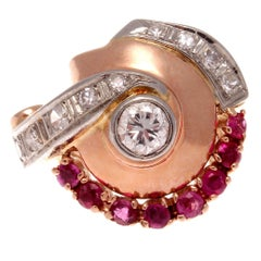 Retro Ruby Diamond Gold Ring