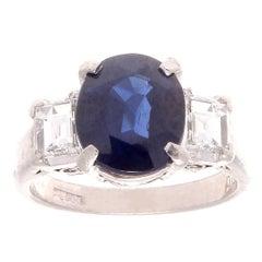 3.07 Carat Sapphire Diamond Platinum Engagement Ring