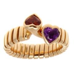 Bulgari Interlocking Citrine and Amerthyst Heart Gold Ring