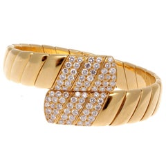 Cartier Diamond Gold Cuff Bracelet
