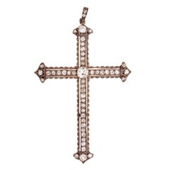 19th Century Spanish Diamond Gold Silver Cross