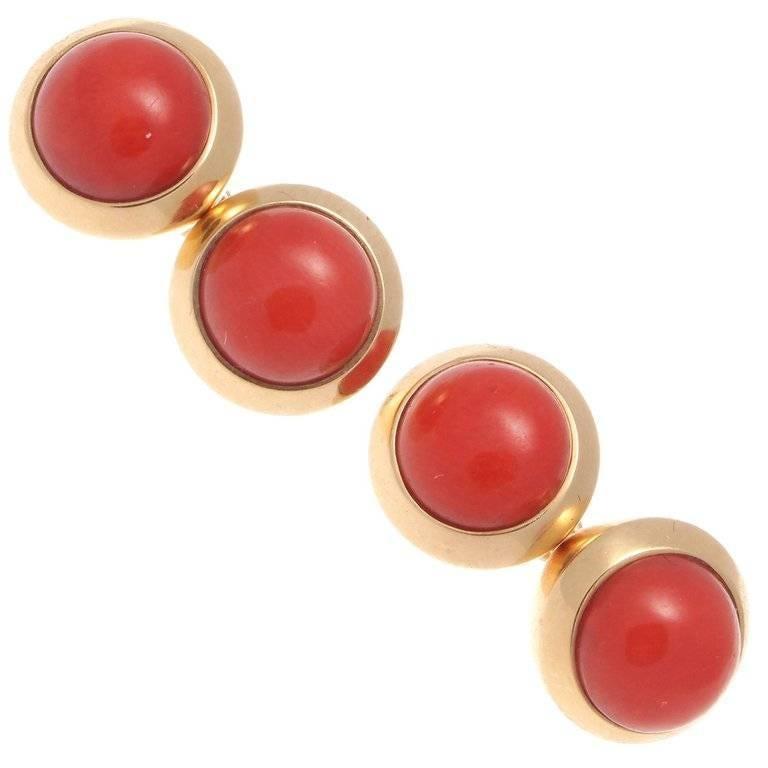 Cartier Coral Gold Cufflinks