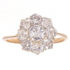 Antique Old European Diamond Gold Cluster Ring