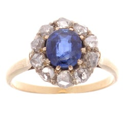 Victorian Sapphire Diamond Gold Cluster Ring