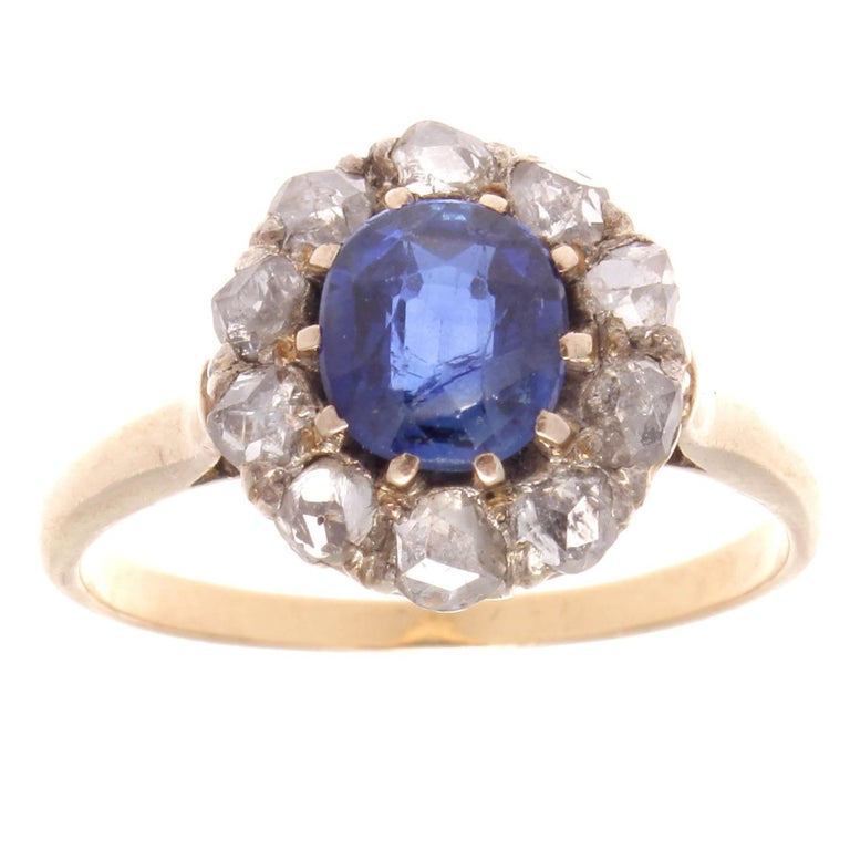 Victorian Sapphire Diamond Gold Cluster Ring